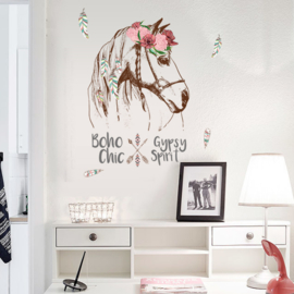 Muursticker Paard met roze bloemen 90x 56cm