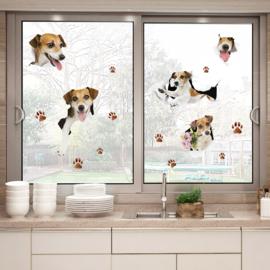 Muursticker 3D Honden/ Jack Russells die door de muur kruipen 85 x 110cm
