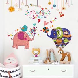 Muursticker Vrolijke Gekleurde en Roze Olifant 110 x 82 cm