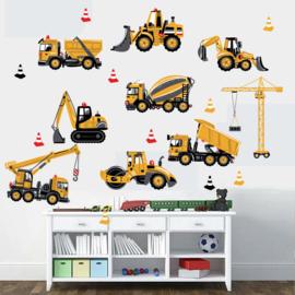 Muursticker met shovel, vrachtwagen, graafmachine, Takelkraan en stoomwals 44 x 85cm
