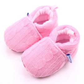 Roze gebreide sloffen