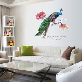 Muursticker van Sierlijke Pauw 99 x 82cm