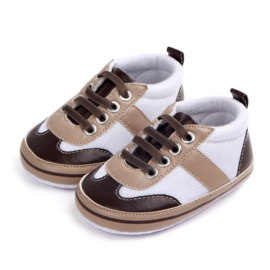 Bruin witte Sneakers met elastische veters