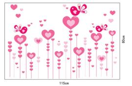 Muursticker Roze Hartjes Bloemen 115 x 80cm