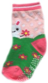 Antislip Sokken Roze met Groen en lief konijntje