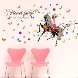 Muursticker Elfje op Paard met allemaal bloemen 142 x 116cm
