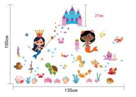 Muursticker Zeemeerminnen en Zeedieren 135 x 100cm