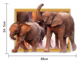 Muursticker Realistische Olifanten met 3D effect 88 x 64cm