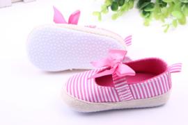Roze/wit gestreepte ballerina's