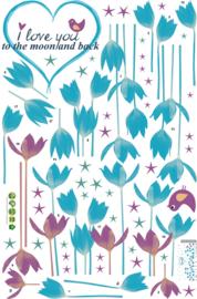 Muursticker Blauwe en Paarse Bloemen 145 x 68cm