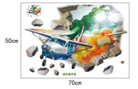 Muursticker Vliegtuig die door de muur vliegt 50 x 70cm