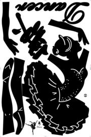 Muursticker Zwarte Ballet Danseres 154 x 135cm