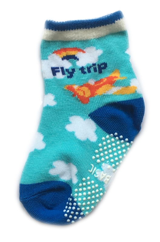 Antislip Sokken Wit en blauw met wolken en vliegtuig