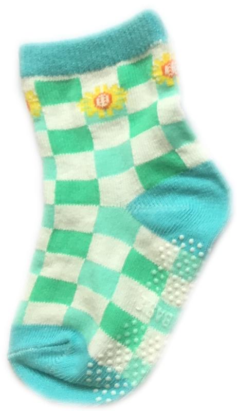 Antislip Sokken Groen en wit geblokt met blauw