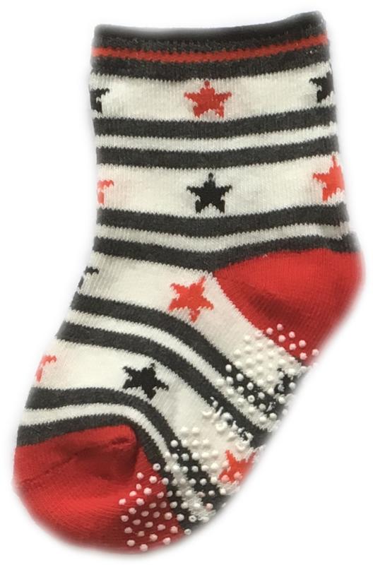 Antislip Sokken Rood Wit en Zwart gestreept met sterren
