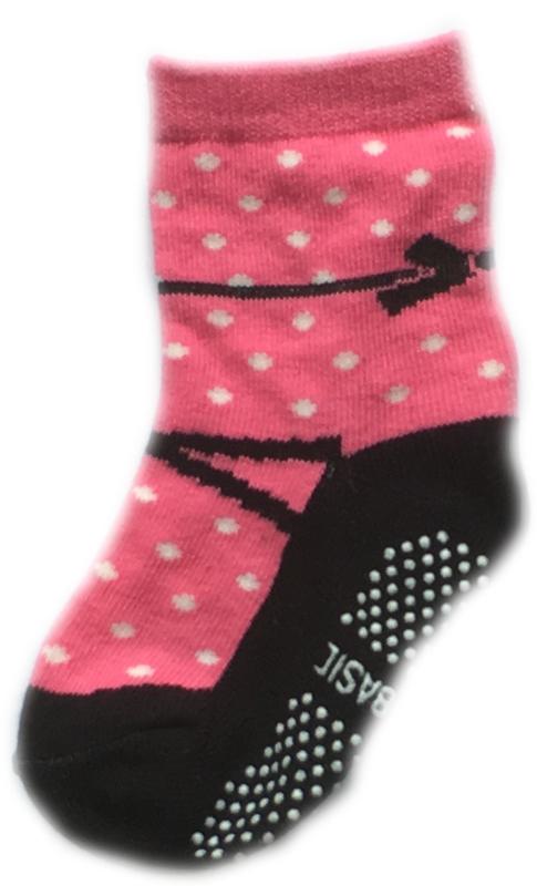 Antislip Sokken roze met zwart lijkend op schoentje