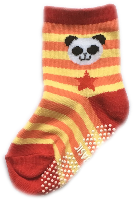 Antislip Sokken geel, oranje en rood gestreept met panda