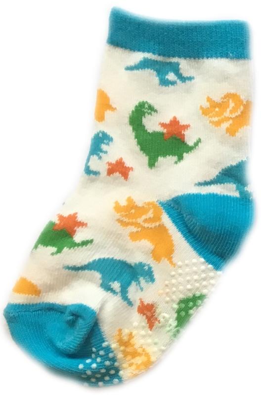 Antislip Sokken met gekleurde Dinosaurussen