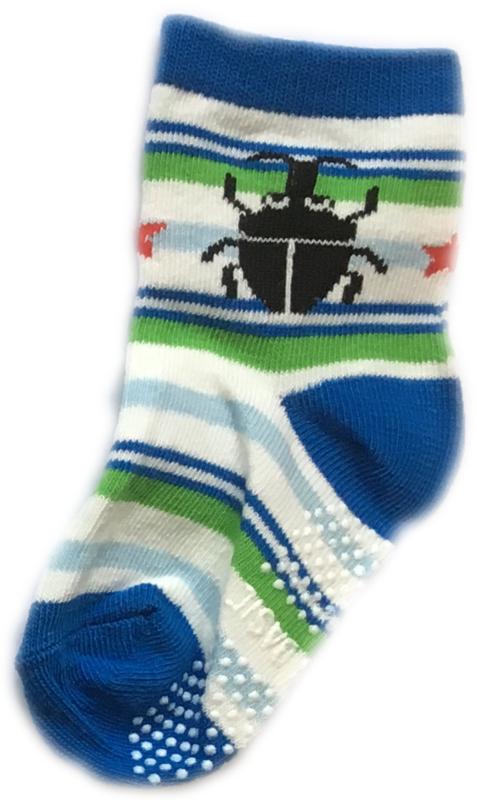 Antislip Sokken blauw, wit en groen gestreept met een zwart kevertje erop