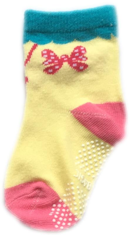Antislip Sokken Geel/Roze met strikje