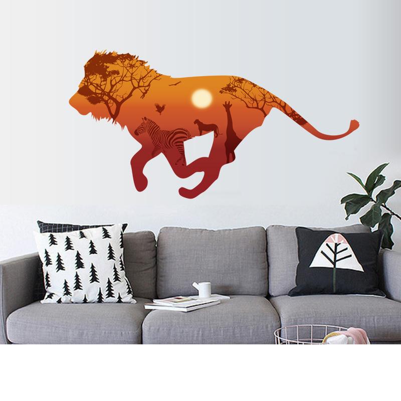 Muursticker Leeuw met Africa achtergrond 67 x 130cm