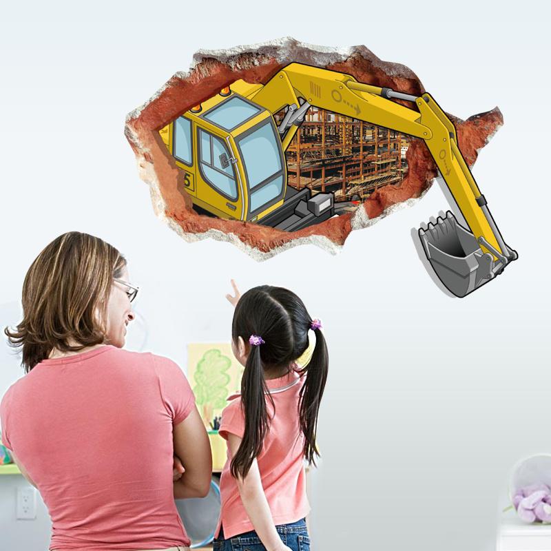 Muursticker Graafmachine Breekt Door Muur 92 x 62 cm