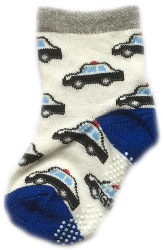 Antislip Sokken Wit en blauw met politieauto's
