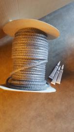 6mm Koord - Antraciet  5 mtr + tube lijm 17mlv