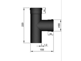 Pelletkachel T-stuk M/F/F met dop ∅ 80mm