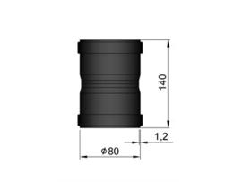 Pelletkachel koppelstuk/mof  uitwendig ∅ 80mm