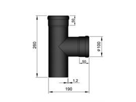 Pelletkachel 90° T-stuk met 2x mof F/F en dop ∅ 100mm