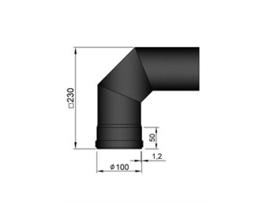 Pelletkachel bocht 90° ∅ 100mm