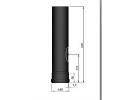 Pelletkachel pijp 50 cm met luik ∅ 80mm