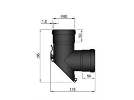 Pelletkachel T-stuk 90 graden F/F afgekort met luik