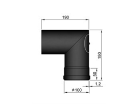 Pelletkachel bocht 90°  met luik haaks ∅ 100mm