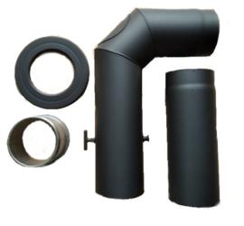 EW150  2mm Aansluitset met segment bocht 90º + 40cm pijp - Zwart