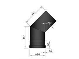 Pelletkachel bocht 45º ∅ 80mm