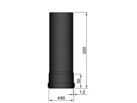 Pelletkachel pijp 25 cm ∅ 80mm