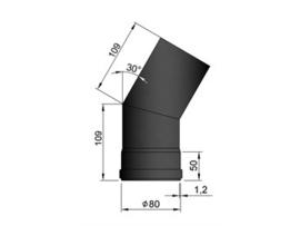 Pelletkachel bocht 30º ∅ 80mm
