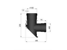 Pelletkachel T-stuk 45° afgeschuind 80/100mm  ∅ 100mm