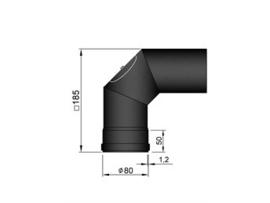 Pelletkachel bocht 90º met luik ∅ 80mm