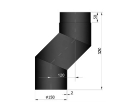 EW150 2 MM S-bocht 120 cm Zwart