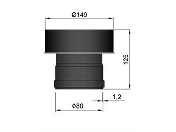 Pelletkachel verloop EW 80 naar EW 150 MM