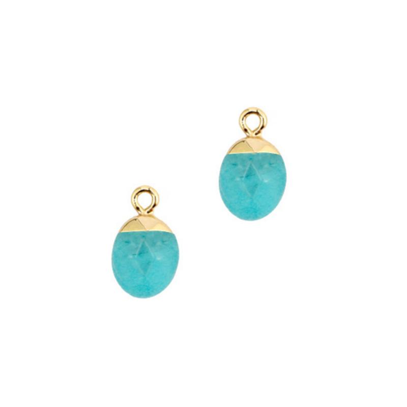 Oorbedels turquoise jade