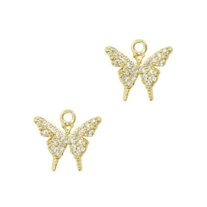 Oorbedels zirkonia vlinders
