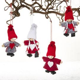 Kerstmeisjes/jongens hangend 4 st