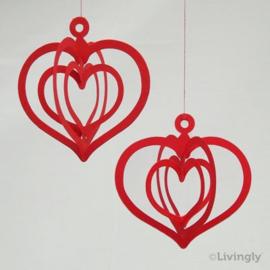 Harten rood 2 stuk
