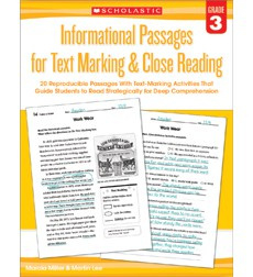 Informational Passages for Text Marking  Close Reading: Grade 3