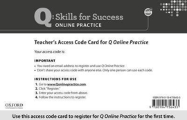 Q Online Practice Teacher Access Code Card