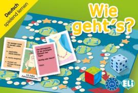 Wie geht's? ein Spielbrett ein Zahlenwürfel ein Farbwürfel 132 in sechs Kategorien aufgeteilte Spielkarten Anleitung en Vorschläge